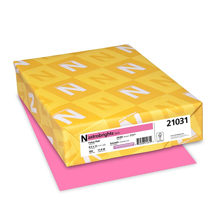 Wausau AstroBrights Color Laser/Inkjet Paper, 500 Sheets, Pulsar Pink, 24 lb, 8.5 x 11 Inches