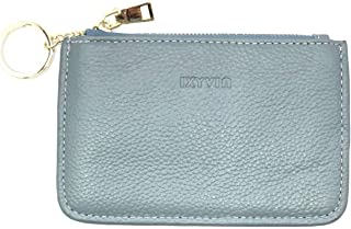 RFID Blocking secure Leather Zip Coin Purse with keychain Ring - Greenish Grey