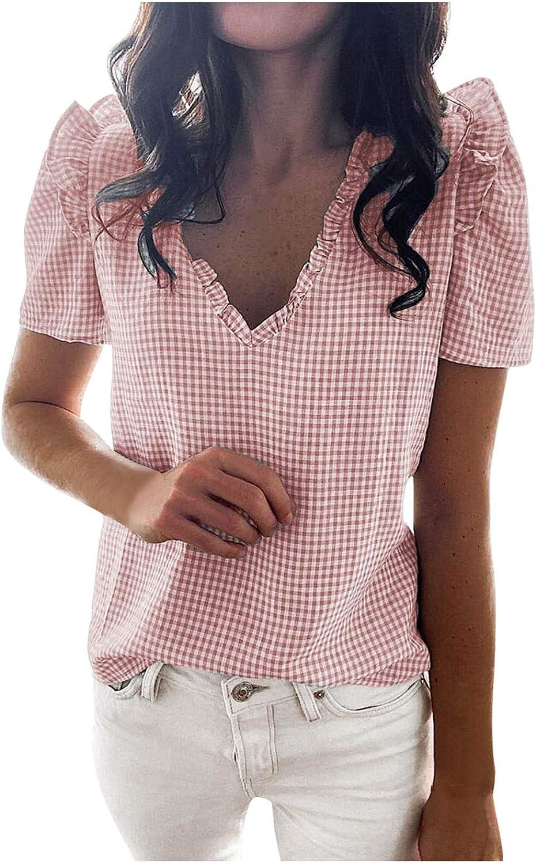 Blouse for Women Business Casual, Tops of Women Check Plaid Print Beach Ruffle Short Sleeve V-Neck T-Shirt Blouse