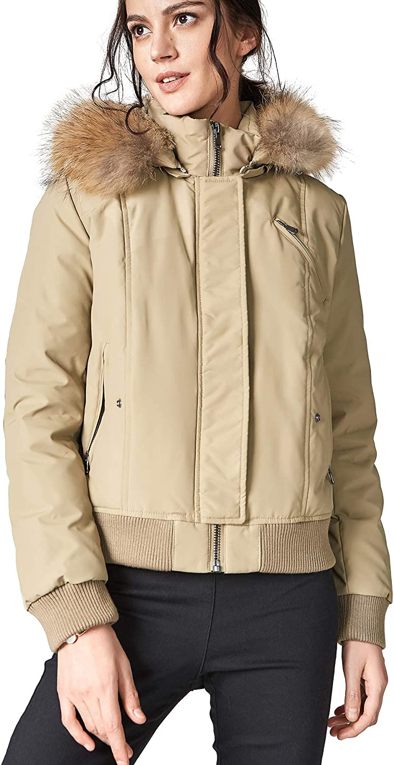 Escalier Women's Down Coat Short Thickened Jacket with Raccoon Fur Hooded