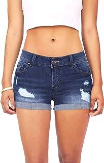 Wax Women's Juniors Body Enhancing Denim Shorts