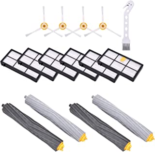 Rebirthcare Replenishement Kit for iRobot Roomba 800 & 900 Series 805 860 870 871 880 890 960 980 Vacuum Replacement Parts,with Extractors &Filters &Side Brushes & Small Brush (iRobot 800 Series)