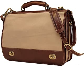 Roma Messenger Bag in Canvas with Brown Leather Trim