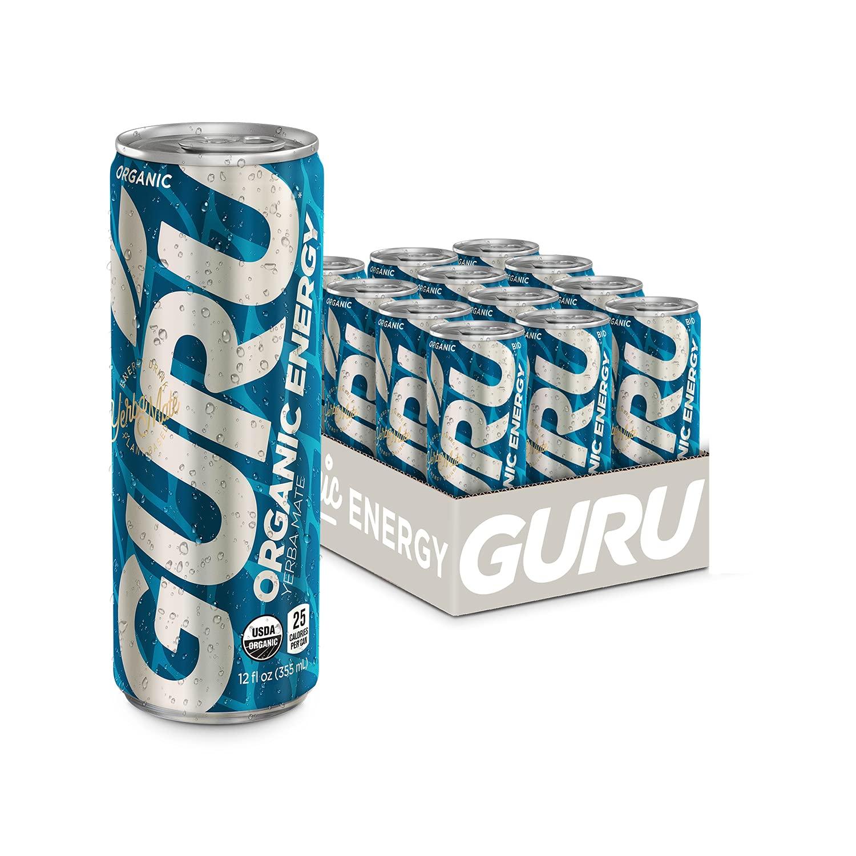 GURU Plant-Based Yerba Mate Energy Drink | Recharge with Refreshing Good Energy | All Natural & Organic Ingredients | Low Calories | Healthy Energy Drink to Help Stay Focused | 12 oz (Pack of 12)