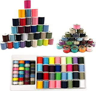 Sewing Machine Thread Kit, dilib 60 Pcs Bobbins Sewing Threads for Mini Handheld Sewing Machines - Metal Thread Spool, Multi-Color,Suitable for Brother Singer Janome