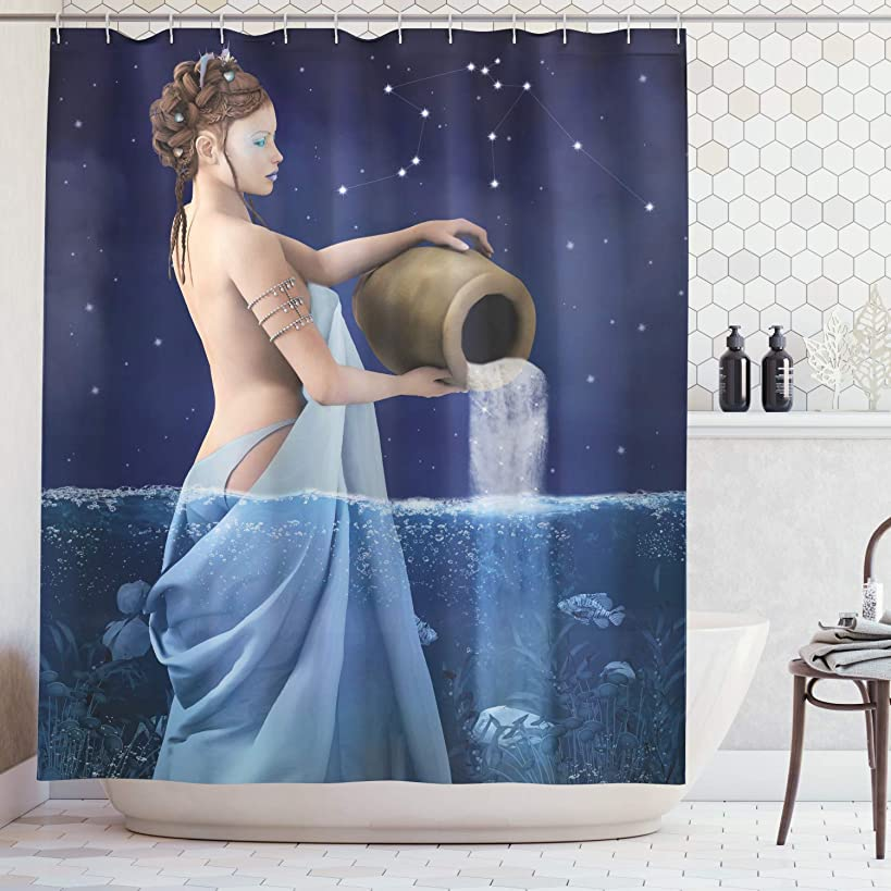 Ambesonne Astrology Decorations Shower Curtain Set, Aquarius Lady with Pail in The Sea Water Signs Saturn Mystry at Night Stars, Bathroom Accessories, 75 Inches Long, Dark Blue