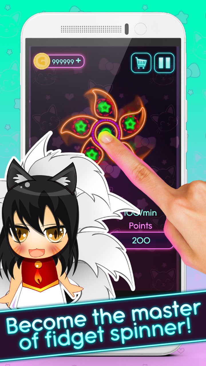 Hand Fidget Spinner: Anime Fighting Master | Cyborg Girl Rest And Relax Swiping Contest of Champions