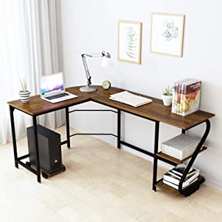 WeeHom Modern Corner Computer Desk L Shaped Desk with Shelves Reversible Desktop Home Office Laptop Workstation Study Desks Wood & Metal