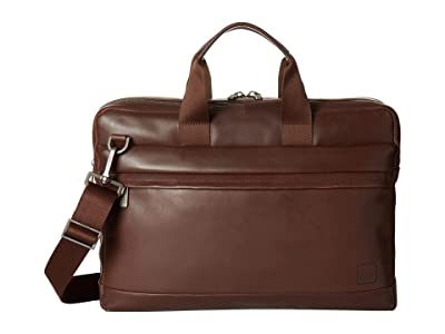 KNOMO London Barbican Roscoe Laptop Briefcase (Dark Brown) Briefcase Bags