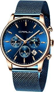 Men's Watches Fashion Quartz Analog Auto Date Chronograph Mesh Stainless Steel Waterproof Wrist Watch (Black/Blue/Gold)
