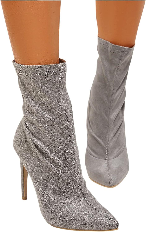 Hemlock Women Retro Boots Suede Point Toe Shoes Stiletto Heel Mid Calf Boots Ladies Work Shoes Pumps