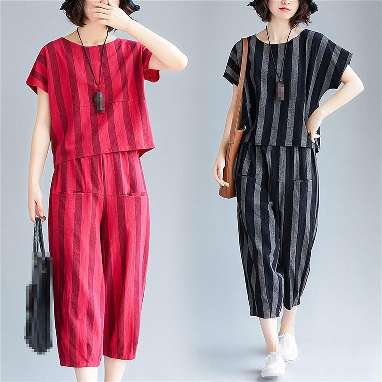 Women's Sets Summer Cotton and Linen Stripe Short Sleeve T-Shirt and Wide Leg Pants 2 Pcs Sets Casual Pants Suits