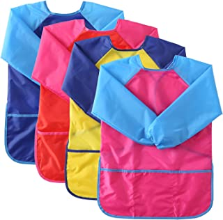 Suwimut 4 Pack Kids Art Smock Apron, Waterproof Children Artist Painting Apron Long Sleeve with 3 Pockets for Age 3-6 Year...