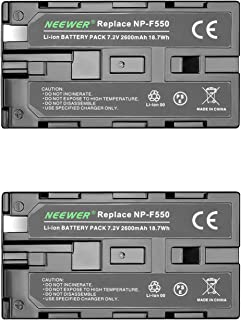 Neewer - Batería de Repuesto para Sony HandyCams Neewer Nanguang CN-160 CN-216 CN-126 y Otras Luces LED de vídeo en cámara Que utilizan NP-F550 (2 Unidades) 2600 mAh Sony NP-F550/570/530