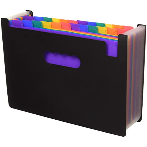 24 Pockets Expanding Files Folder/ A4 Expandable File Organizer/Portable Accordion File Folder/High Capacity Multicolour Stand/Plastic Business File Organizer Box-by Blinyang