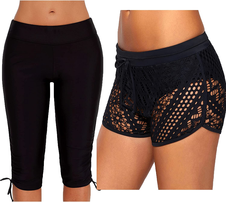 Urchics Womens Plus Size Rash Guard Capris and Lace Swim Bottom Board Shorts
