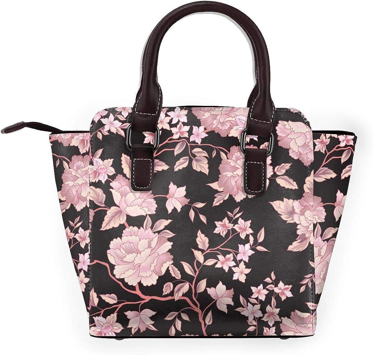LalaQ Sac à bandoulière en cuir véritable avec rivets pour femme Style rétro Fleurs Motif Floral Rose.