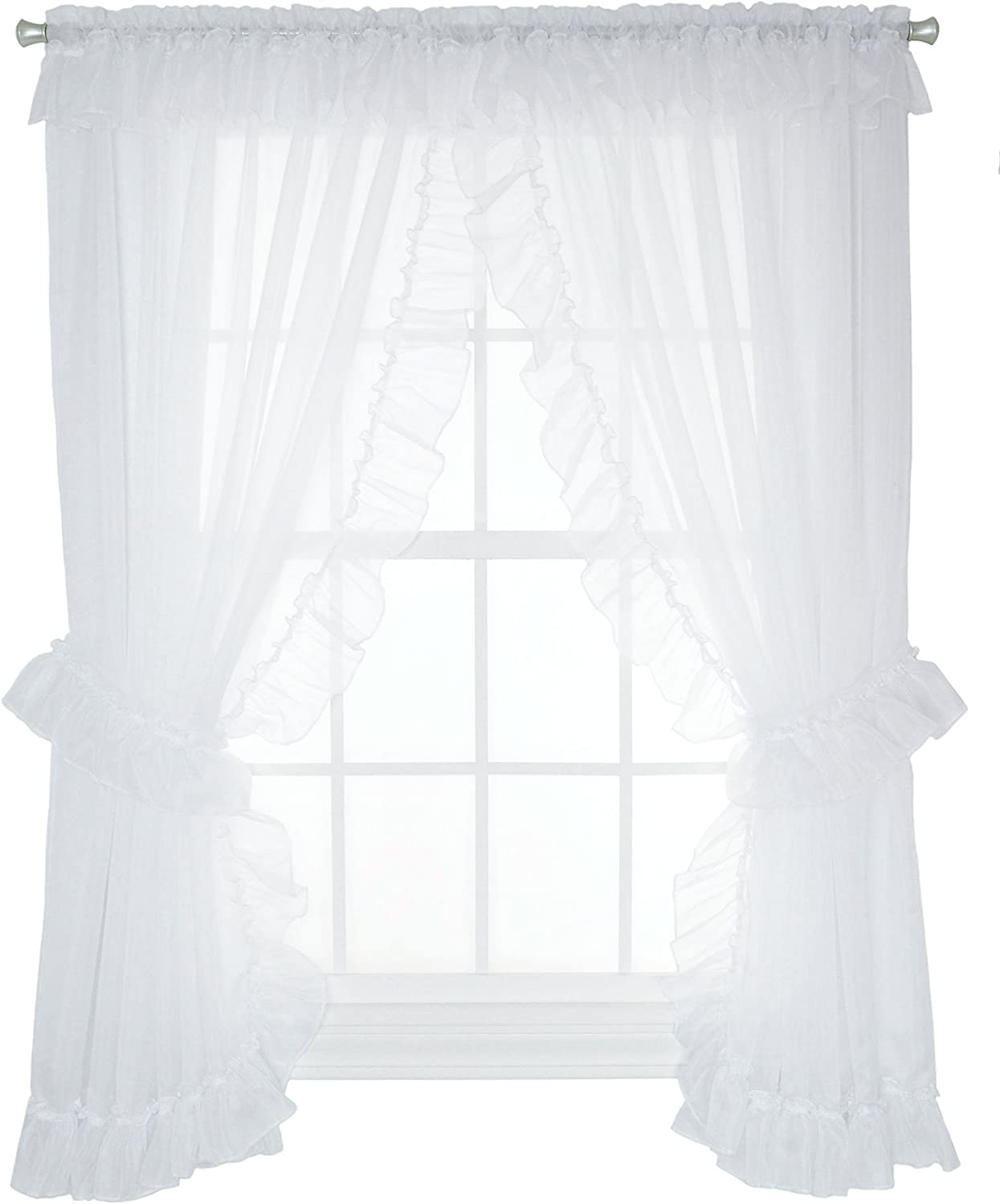 Ellis Curtain Jessica Sheer Ruffled Priscilla Pair Curtains with Ties, 100 by 72-Inch, White