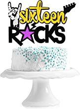 Sixteen Rocks Birthday Cake Topper - Rock and Roll Music Theme Party Glitter Guitar Cake Décor - Rock On 16th Birthday Party Decoration