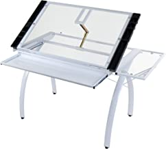 Studio Designs 10096 Futura Station with Folding Shelf Top Adjustable Drafting Craft Drawing Hobby Table Writing Studio Desk with Drawer, 35.5'' W x 23.75'' D, White/Clear Glass