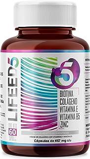LF5 HAIR NAILS Biotina Colageno Hidrolizado Zinc Vitaminas E D3 C y B5 | Para 60 Días | LIFEED Cabello Piel Uñas | LIFEED5...