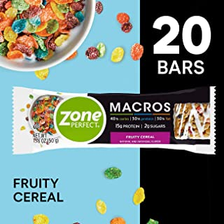 Zoneperfect Macros Protein Bars, Fruity Cereal, 20Count