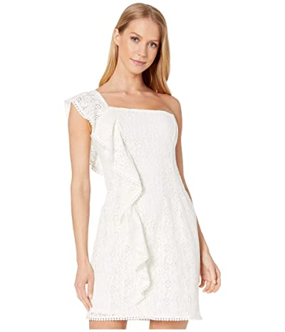 Cupcakes and Cashmere Aresa Lace One Shoulder Ruffle Dress (Marshmallow) Women