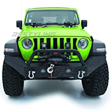 Restyling Factory -Black Textured Full Width Front Bumper With Fog Lights Hole & 2x D-Ring & Winch Plate for 18-19 Jeep Wrangler JL
