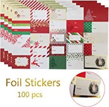 Christmas Sticker Labels, Jumbo Self Adhesive Gift Stickers Holiday Gift Name Decals for Present/Wrapping Paper Decorations (100 Count)