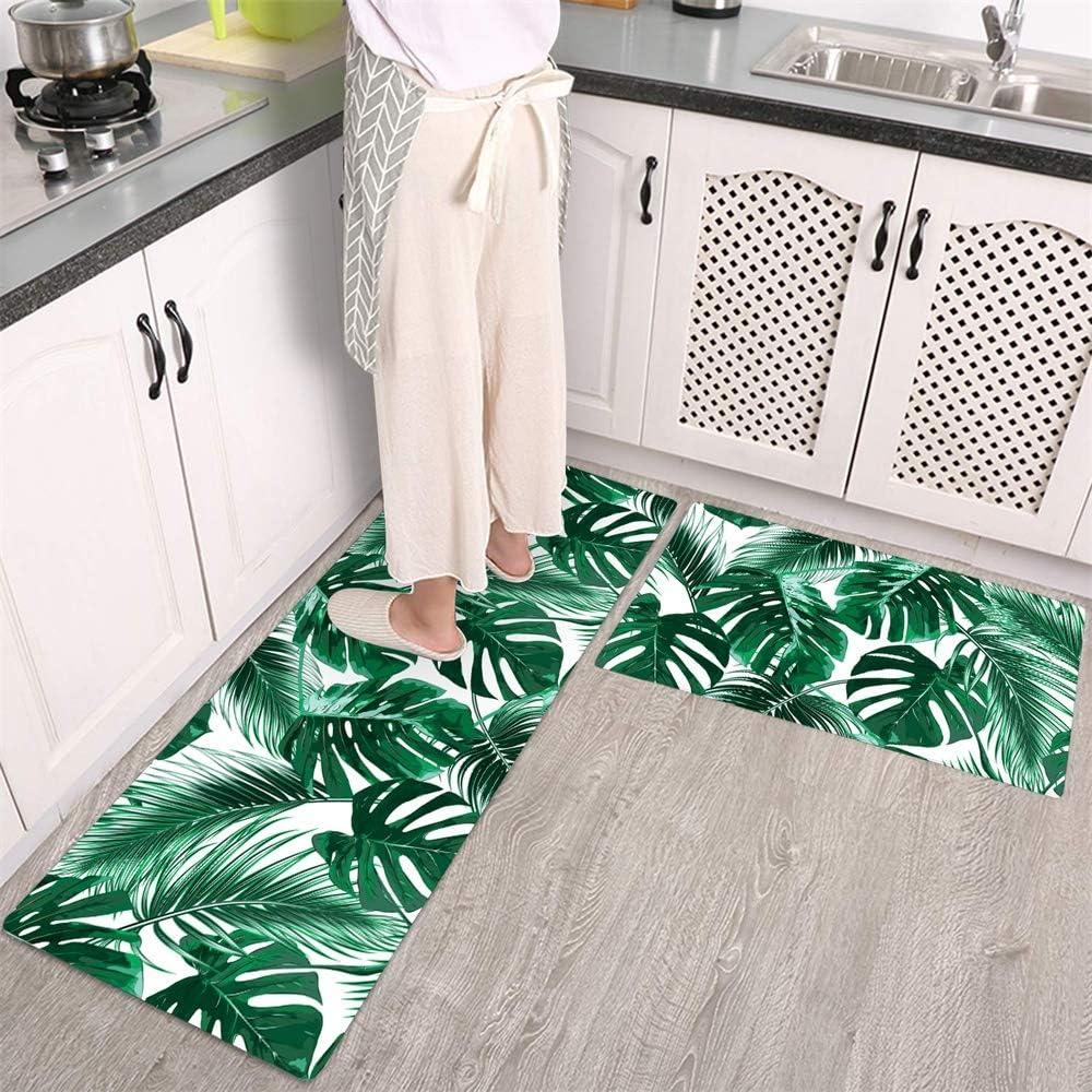 Kitchen 爆売りセール開催中 Mat Rug Green 記念日 Palm Leaves PVC Slip L Non Plants Tropical