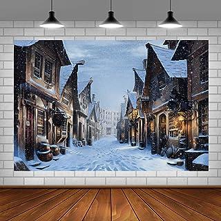 Shraphy BJLLSH140 Fotohintergrund im europäischen Stil, Architektur, Winternacht, personalisierbarer Hintergrund für Fans, Mottoparty, Tischdekoration, Banner, Foto Requisiten