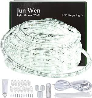 JUNWEN Outdoor LED Rope Lights Daylight White Indoor 432 LEDs Waterproof 39ft/12m Neon Light String Lighting Plug in 110V 8A Power Cord for Pool, Camping, Bedroom Decor, Landscape