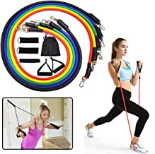 ELEWELT 11Pcs Resistance Bands Set, Fitness Exercises Pull Rope Resistance Bands with Expander Door Anchor Body Training Workout Yoga Elastic Pull String