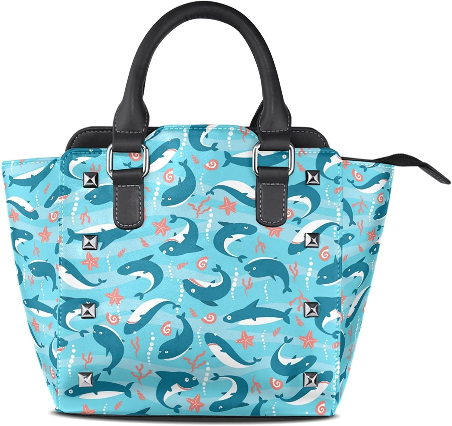 My Little Nest Women's Top Handle Satchel Handbag Cute Sharks Ladies PU Leather Shoulder Bag Crossbody Bag