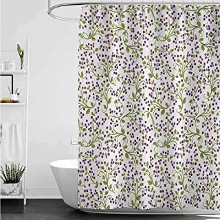 homecoco Shower Curtains for Bathroom Country Flower,Floral Pattern Wild Berries Ornamental Curvy Branches Foliage Fruits Botanic,Purple Green White W69 x L72,Shower Curtain for Bathroom