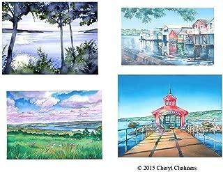 Finger Lakes Watercolor Note Cards - Set of 8, Cayuga, Keuka, Canandaigua, Seneca Lake, by Chalmers