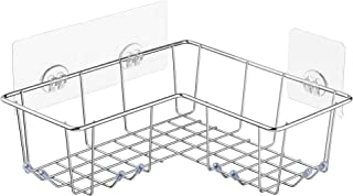 ARCCI Adhesive Corner Shower Caddy, Bathroom Shelf Shower Basket with Hooks, SUS304 Stainless Steel Wall Mounted Storage Organizer for Bathroom, Dorm and Kitchen