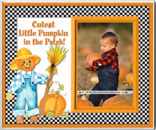 Cutest Pumpkin in The Patch   Autumn Design  Fall Harvest Picture Frame Keepsake and Tabletop Seasonal Decor, Sized for Desk or nightstand and Measures 8.25