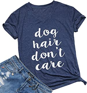 Dog Hair Don't Care T-Shirt Women's V-Neck Casual Short Sleeve Tee Funny Tops