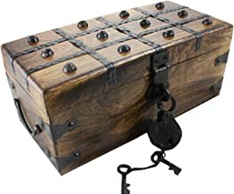 Wooden Pirate Treasure Chest Box 12 x 6 x 5 Includes Iron Lock Trunk Skeleton Keys By Well Pack Box
