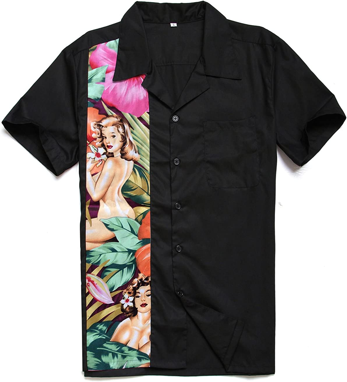 Candow Look Men Shirt Free Shipping New Floral Nude Inventory cleanup selling sale Cotton S Print Size Plus Panel