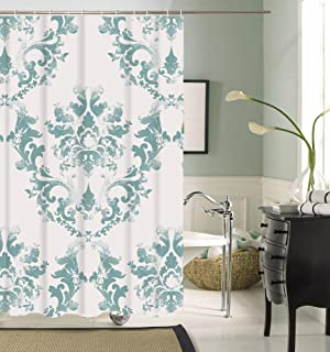 Bluebell Collections Green and White Shower Curtain, Decorative Victorian Baroque Design Creates Unique Elegant Classic Sh...