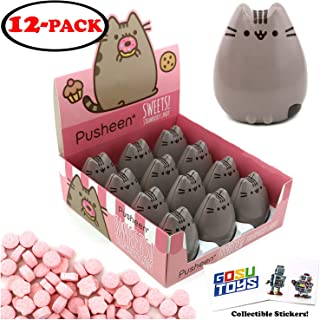 Pusheen Tin Candy (12 Pack Case) Sweet Strawberry Flavor Gift Stuffer with 2 GosuToys Stickers
