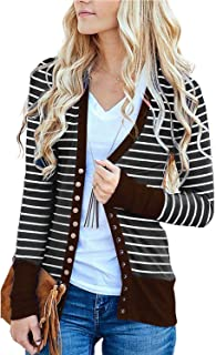 Viracy Women's Long Sleeve Striped Snap Button Contrast Color Cardigan Sweaters