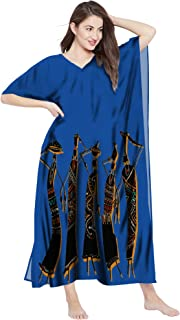 RADANYA Women African Print Loose Long Kaftan Maxi Dress Cotton Caftan
