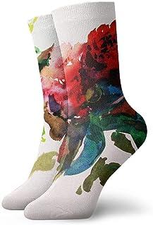 Flor de verano China Paingting Calcetines cortos transpirables Calcetines clásicos de algodón de 30 cm para hombres Mujeres Yoga Senderismo Ciclismo