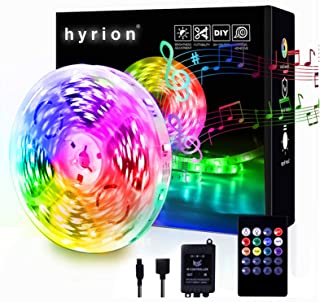 hyrion Led Strip Lights for Bedroom 32.8ft, 5050 RGB Color Changing IR Remote Control with Music Sync Rope Light Strips In...