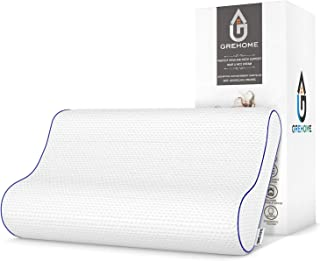 GREHOME Memory Foam Pillow for Sleeping, Contour Orthopedic Cervical Pillows for Neck, Shoulder Pain, Pillows for Back Stomach Side Sleeper with Washable Breathable Cover