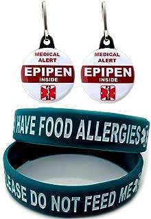 I Have Food Allergies Allergy Bracelet for Kids Teal 2pcs Toddler Size and Medical Alert Epipen Inside Bag Tag 2pcs