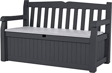 Keter Eden 70 Gallon Storage Bench Deck Box for Patio Furniture, Front Porch Decor and Outdoor Seating – Perfect to Store Gar